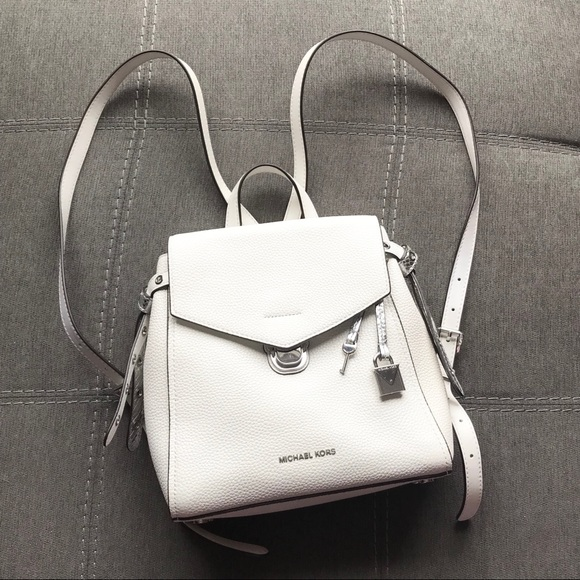 16b009e42ceb Michael Kors Bristol Small White Leather Backpack.  M_5c78b1ab194dadbe93bb183f